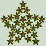 Photographed holly leaves and berries, arranged as Christmas star on light green background. Seamless photograph to be repeated endlessly. Great for printed Stock Photo