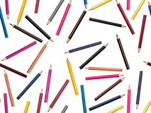 Photographed mix of colored pencils on a white background. Seamless to be repeated endlessly. Great for printed wallpaper, fabric, wrapping paper Stock Photo