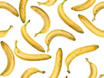 Photographed ripe bananas on white backlit background. Photographed ripe bananas on white backlit background, as seamless image to be repeated endlessly. Great Royalty Free Stock Images