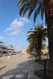 Riva in Trogir in the morning mood stock photos
