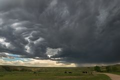 A severe thunderstorm moves over the high plains of eastern Wyoming, United States of America. Photographed during a storm chase, west of Gilette, Wyoming on royalty free stock image