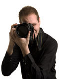Photographer. Man with a camera on a white background Stock Image
