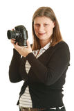Photographer. Woman photographer on white backgorund Royalty Free Stock Images