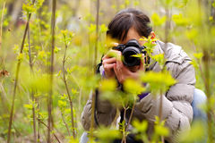 Photographer. On the nature photographing plants Stock Photography