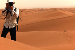 Photographer. Taking pictures in desert.NingXia,china Stock Photo
