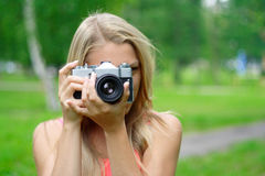 Photographer. Portrait of the photographer in park Royalty Free Stock Image