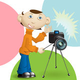 Photographer. Illustration, photographer with photo by device does picture Royalty Free Stock Image