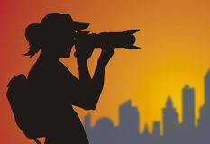 Photographer. The usage camera take a beauty of scenery vector illustration