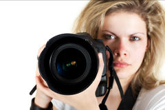 The Photographer. (selective focus on camera Stock Images