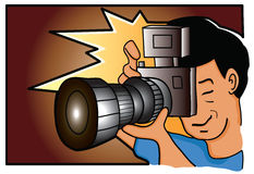 Photographer. Illustration of a cartoon photographer holding a camera flashing royalty free illustration