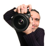 The photographer. The man with a camera Stock Photography