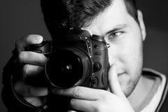 Photographer. Self portrait photographer in the low key Stock Photo