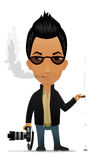 Photographer. Cartoon photographer with cigar and camera Royalty Free Stock Images