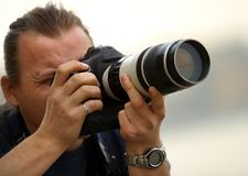 Photographer. The professional photographer at works Royalty Free Stock Photos