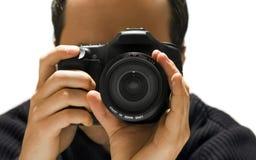 Photographer. Man with photo camera, isolated on white background Royalty Free Stock Photos