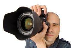 Photographer. Isolated on white background Stock Photo