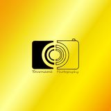 Photographer Abstract with Gold Background. Vector, Illustration royalty free illustration