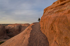 Photographer in action in the desert, Moab Royalty Free Stock Photography