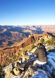 Photographer in action in the Grand Canyon Stock Images
