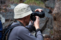 Photographer action in the pine forest of Cyprus Royalty Free Stock Photography