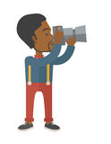 Photographer. An african-american photographer holding a camera vector flat design illustration  on white background. Vertical layout Stock Photography