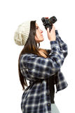 Photographer aims upward to take a photo Royalty Free Stock Image