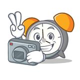 Photographer alarm clock mascot cartoon. Vector illustration Royalty Free Stock Image