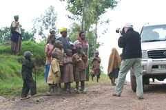 Photographer along the road in Rwanda Royalty Free Stock Images