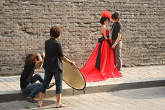 Photographer with assistant and model Stock Images