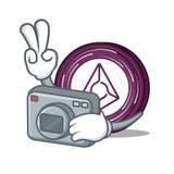 Photographer Augur coin mascot cartoon. Vector illustration Royalty Free Stock Image