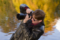 Photographer in the autumn Royalty Free Stock Photography