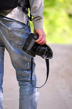 Photographer back detail Royalty Free Stock Photography
