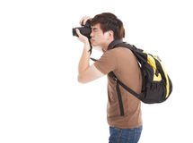 Photographer with backpack Stock Photo