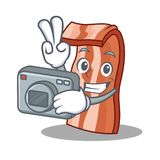 Photographer bacon mascot cartoon style. Vector illustration Royalty Free Stock Photos
