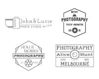 Photographer Badges and Labels in Vintage Style Stock Photo