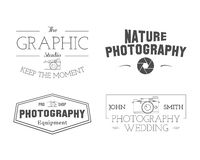 Photographer Badges and Labels in Vintage Style Stock Photography