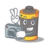 Photographer battery mascot cartoon style. Vector illustration Stock Images