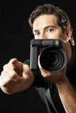 Photographer on black. Stock Photography