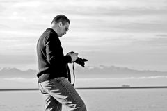 Photographer in Black and White Royalty Free Stock Photo