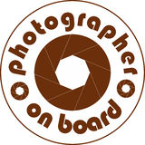Photographer on board car sticker white Stock Photo