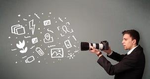 Photographer boy capturing white photography icons and symbols Stock Image