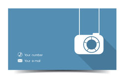 Photographer business card in a flat style. Royalty Free Stock Photo