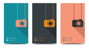 Photographer business card in a flat style. vector illustration