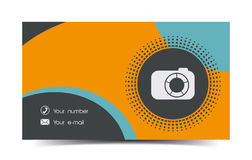 Photographer business card in a flat style. Stock Photo