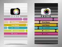 Photographer business card in a flat style. Logo Stock Photos