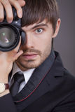 Photographer in business suit Royalty Free Stock Photography