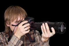 Photographer with the camera Stock Images