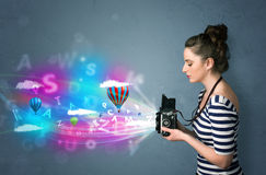 Photographer with camera and abstract imaginary Royalty Free Stock Photography