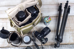 Photographer camera bag and tripod Stock Image