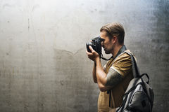 Photographer Camera DSLR Shooting Journalist Concept Stock Photos